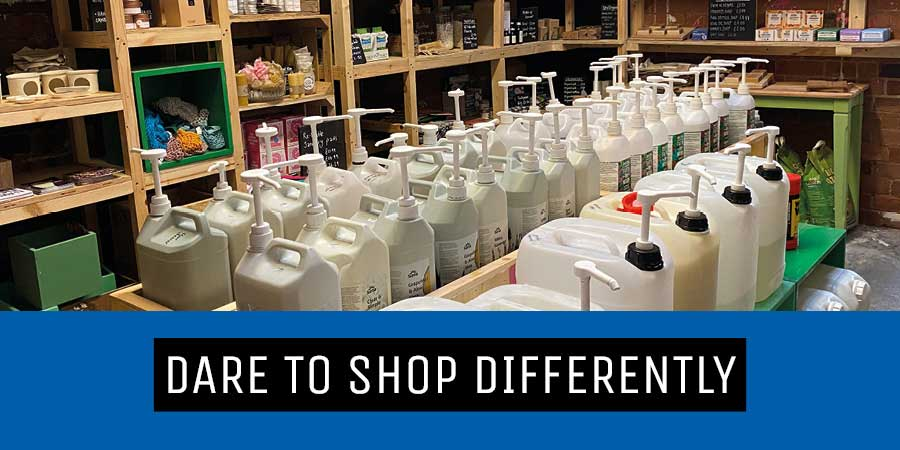 refill store image with text dare to shop differently